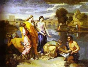 Nicolas Poussin - Die Tochter des Pharao findet Baby Moses