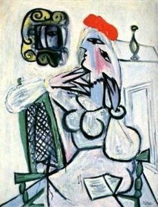 Pablo Picasso - frau in rot hut 1