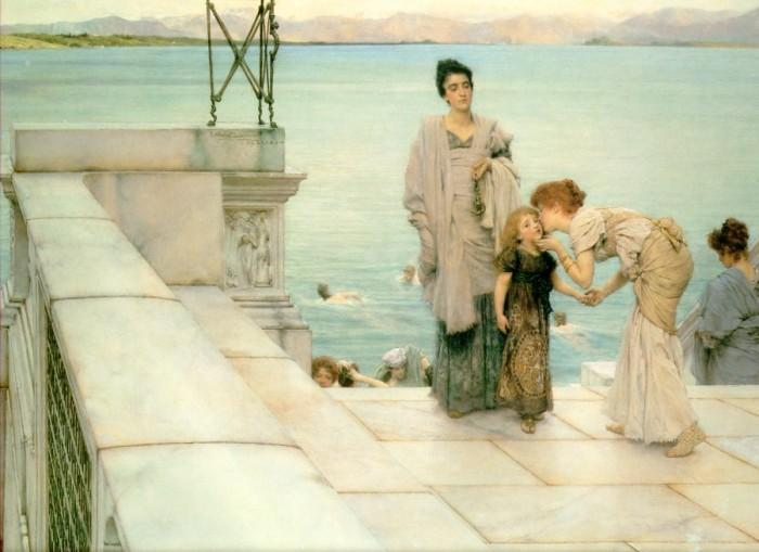 a kuss, 1891 von Lawrence Alma-Tadema (1836-1912, Netherlands) | Gemälde Reproduktionen Lawrence Alma-Tadema | WahooArt.com
