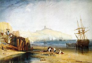 William Turner - Scarborough Town und Castle Frühe  Buben  auffangend  krabben
