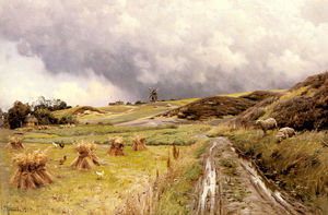 Peder Mork Monsted - a `pastoral` landschaft nach a sturm