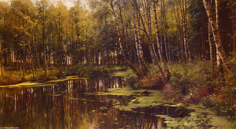 A Woodland Pond, öl von Peder Mork Monsted (1859-1941, Denmark)