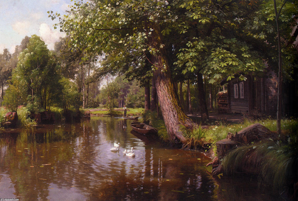 Flodbred, öl von Peder Mork Monsted (1859-1941, Denmark)