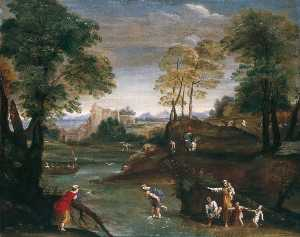 Domenichino (Domenico Zampieri) - Landschaft mit Ford