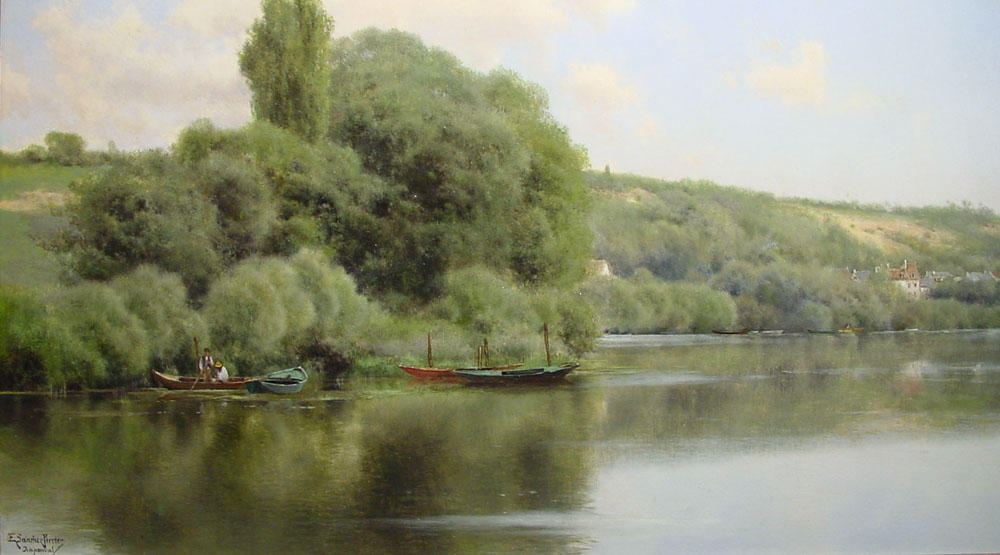 Calm Waters bei Chaponval von Emilio Sanchez-Perrier (1855-1907, Spain)