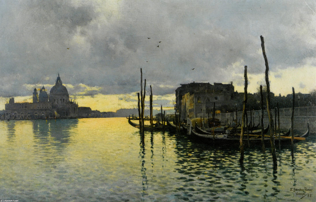 Evening_Looking_Towards_the_Grand_Canal_with_Santa_Maria_Della_Salute_in_the_Distance von Emilio Sanchez-Perrier (1855-1907, Spain)