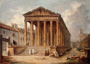 Hubert Robert - Ancient Temple. Die Maison Carree in Nimes
