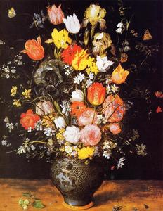 Jan Brueghel The Elder - strauß blumen in a blau vase
