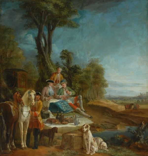 A Hunting Luncheon von Jean-Baptiste Oudry (1686-1755, France)