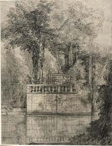 Jean-Baptiste Oudry - Lattice Work and Reflecting Pool in Arcueil