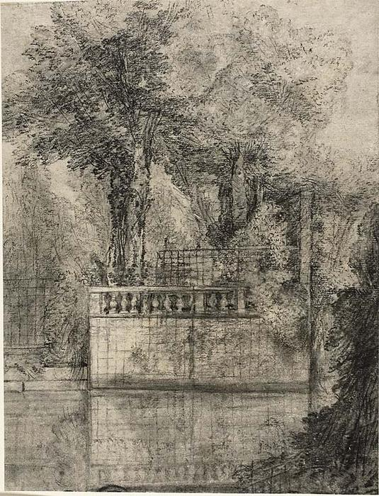 Lattice Work and Reflecting Pool in Arcueil von Jean-Baptiste Oudry (1686-1755, France) | WahooArt.com