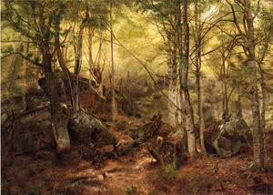 John George Brown - deerhunter` in der wald
