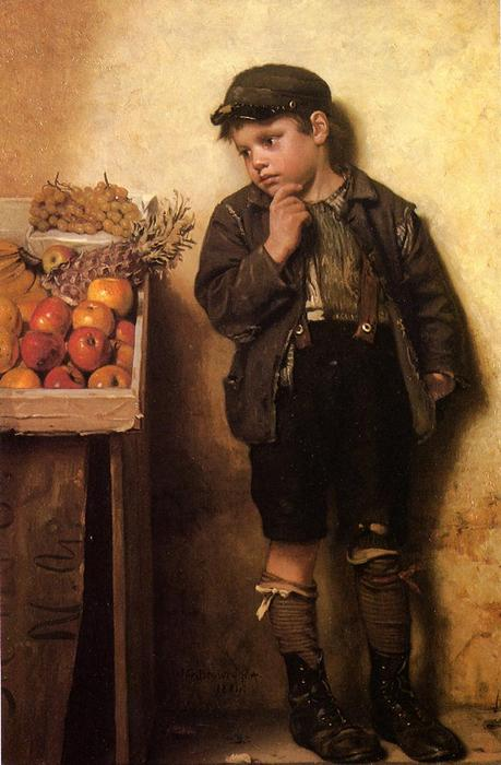 Mustert den Obststand, 1884 von John George Brown (1831-1913, United Kingdom) | WahooArt.com