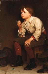 John George Brown - Shoeshine Boy Smoking