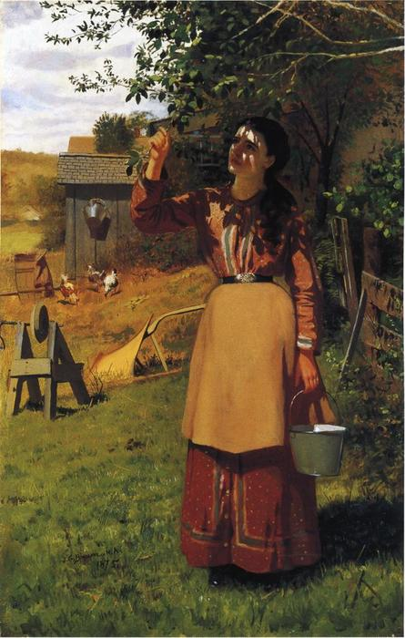 Die Cherry Picker, öl auf leinwand von John George Brown (1831-1913, United Kingdom)