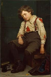 John George Brown - Tuckered heraus The Shoeshine Boy