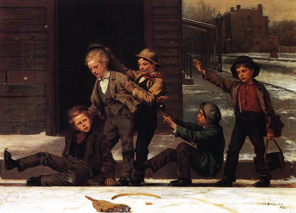 wintersport an  der  Gosse , 1875 von John George Brown (1831-1913, United Kingdom) | WahooArt.com