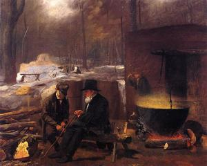 Jonathan Eastman Johnson - Am Camp, Spinning Yarns und Whittling