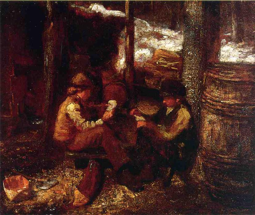 bei dem `maple` zucker Lager von Jonathan Eastman Johnson (1824-1906, United Kingdom)