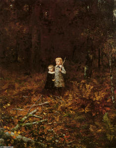 Jonathan Eastman Johnson - babies` in der wald
