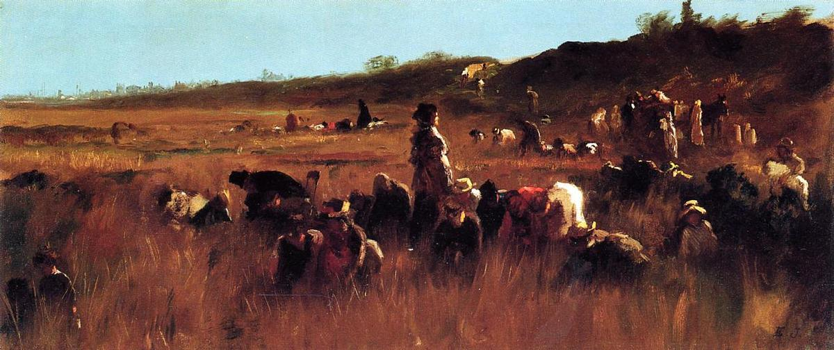 Cranberry Pickers, Nantucket von Jonathan Eastman Johnson (1824-1906, United Kingdom)