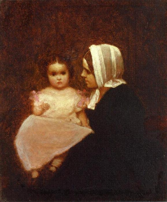 mutter und kind 1   von Jonathan Eastman Johnson (1824-1906, United Kingdom) | Gemälde Reproduktionen Jonathan Eastman Johnson | WahooArt.com