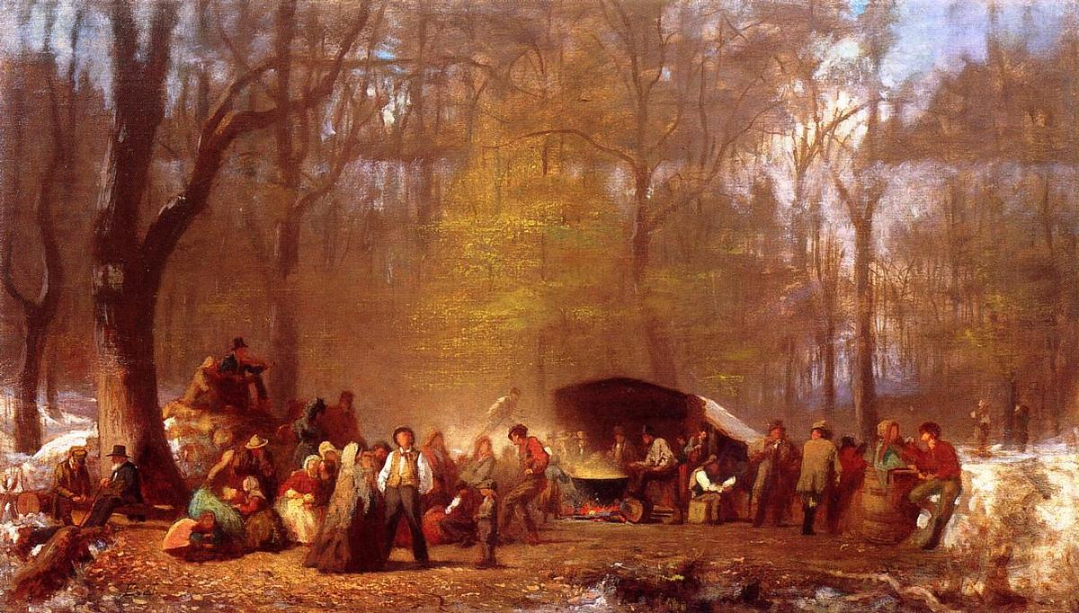 Sugaring Off im Camp, Fryeburg, Maine von Jonathan Eastman Johnson (1824-1906, United Kingdom) | Kunstdrucke Auf Leinwand | WahooArt.com