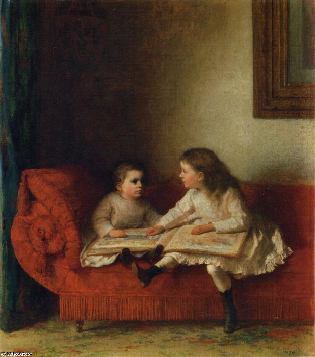The Lesson (aka The Lesson mit NOP Seite des Alphabet Book) von Jonathan Eastman Johnson (1824-1906, United Kingdom)