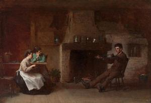 Jonathan Eastman Johnson - Wickel Yarn (Innenraum eines Nantucket Küche)