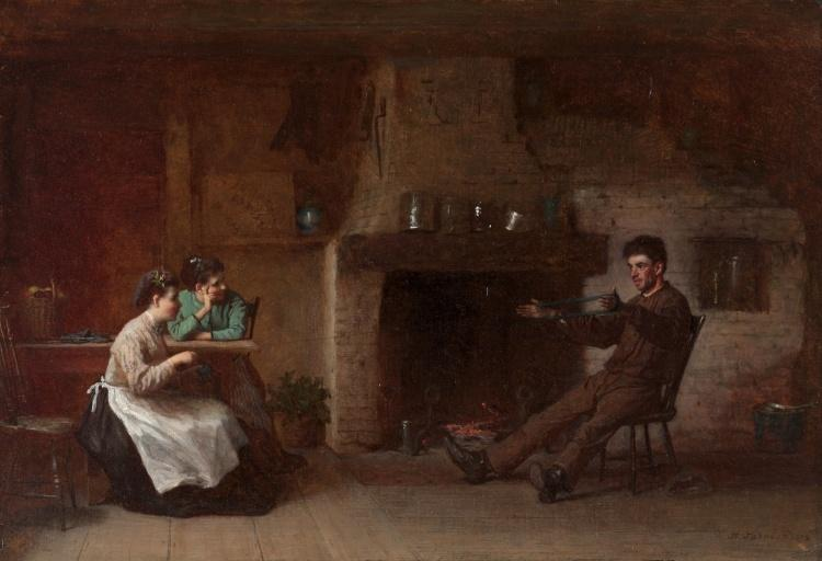 Wickel Yarn (Innenraum eines Nantucket Küche) von Jonathan Eastman Johnson (1824-1906, United Kingdom)