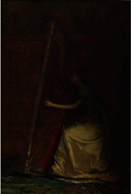 Woman Playing Harp von Jonathan Eastman Johnson (1824-1906, United Kingdom) | WahooArt.com