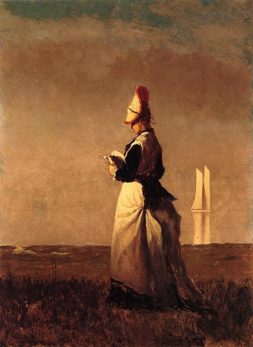 frau lektüre von Jonathan Eastman Johnson (1824-1906, United Kingdom)