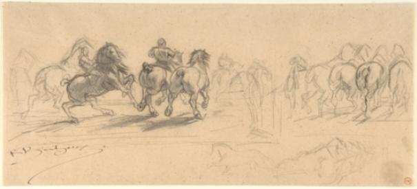 Sheet of Studies für The Horse Fair von Rosa Bonheur (1822-1899, France)