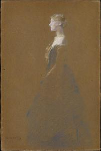 Thomas Wilmer Dewing - frau in a blau kleid