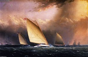 James Edward Buttersworth - Catboats Racing