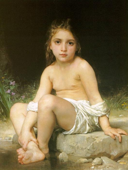 kind bei bad, öl auf leinwand von William Adolphe Bouguereau (1825-1905, France)