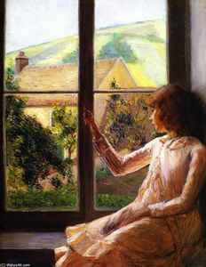 Lilla Cabot Perry - kind in fenster