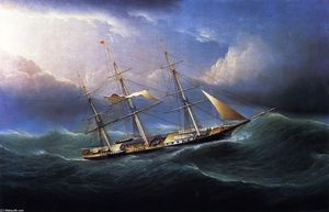 James Edward Buttersworth - Clipper in Gale