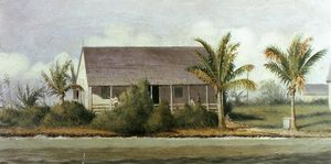 William Aiken Walker - Cottage auf Strand mit palmen ( Florida )