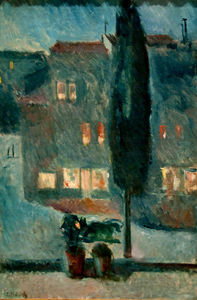 Edvard Munch - Cypres in Moonlight