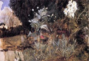 John William Waterhouse - Blumen-Skizze zu The Enchanted Garden