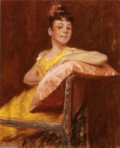 William Merritt Chase - A Girl in Yellow (auch bekannt als The Yellow Kleid bekannt)