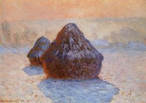 Claude Monet - Grainstacks, White Frost Effect
