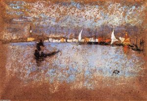 James Abbott Mcneill Whistler - Die Guidecca -   im Winter  grau  und  blau