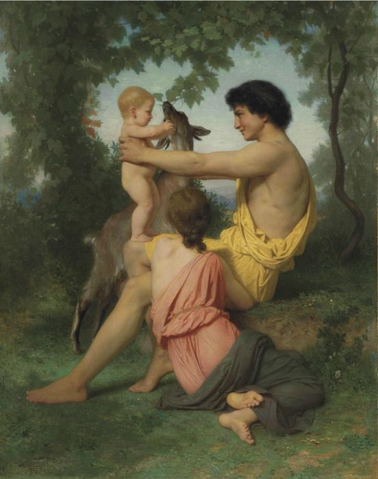 Idylle: famille Antiquitäten, öl auf leinwand von William Adolphe Bouguereau (1825-1905, France)