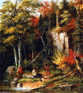 Cornelius David Krieghoff - Indian Hunters am St Maurice-Fluss