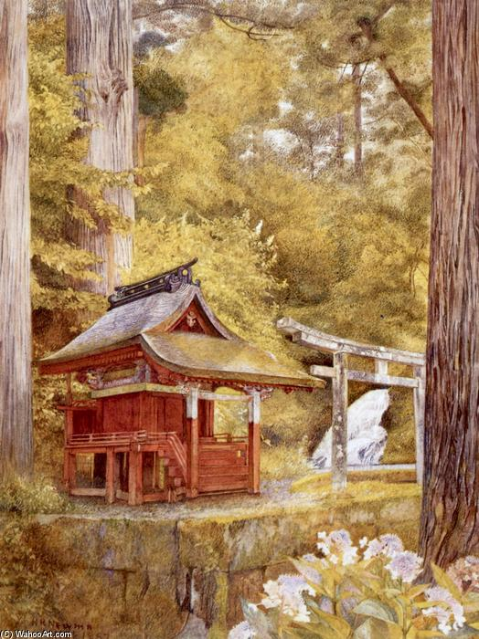 Japanese Pagoda in the Woods, wasserfarbe von Henry Roderick Newman (1833-1918, United States)