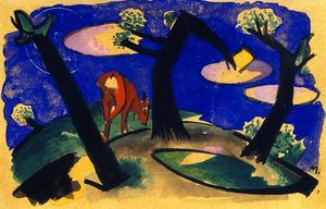 Franz Marc - Landschaft mit Red Tier