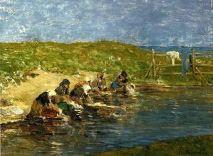 Eugène Louis Boudin - laundresses` durch den meer