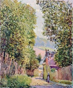 Alfred Sisley - a straße in louveciennes